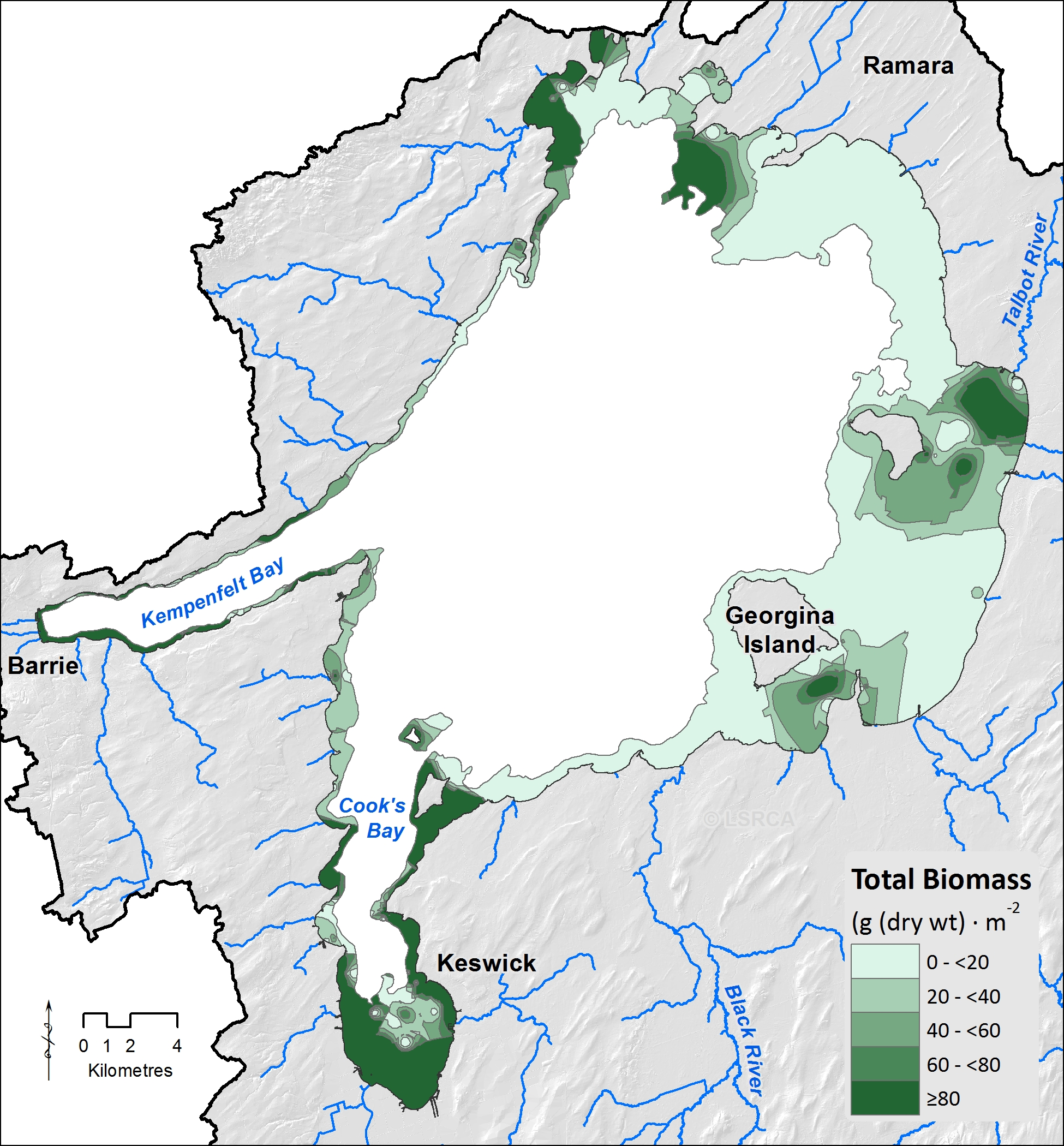 A map showing aquatic plant distribution in Lake Simcoe