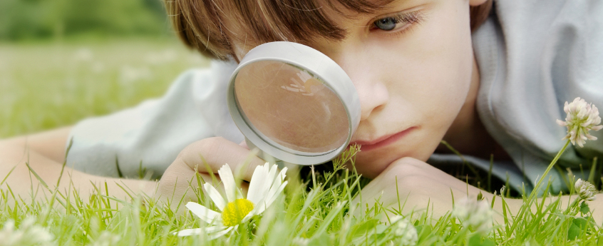 child laying in the grass, looking at flower with a magnifying glass