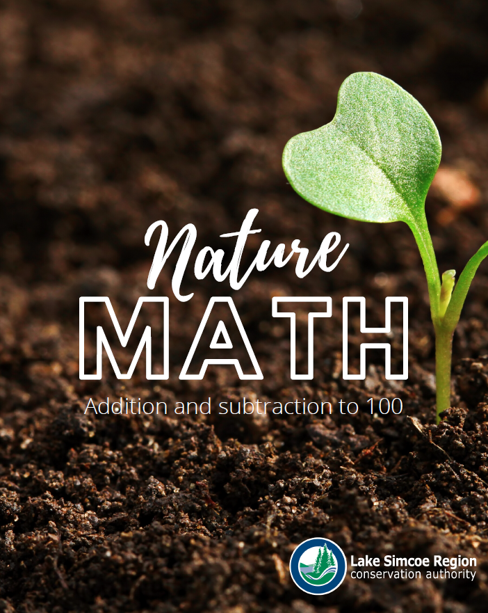 """Nature Math"" text on top of a photo of soil with a small green plant starting to grow."