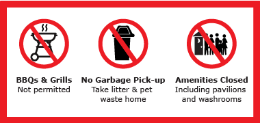 No BBQ, No garbage pick-up and no amenties at Conservation Areas.
