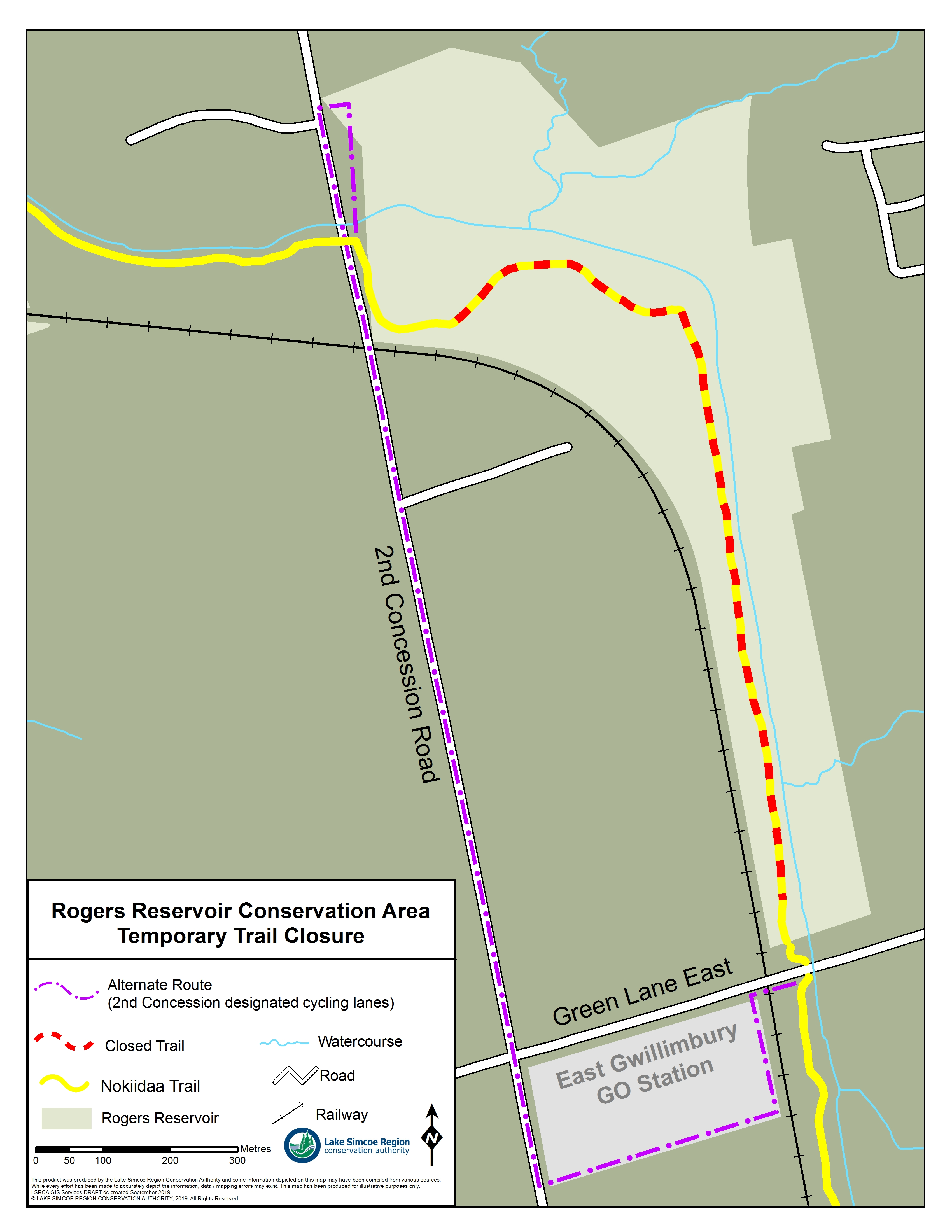 A map showing the closure of the Nokiidaa trail, east of 2nd Concession, up until noth of Green Lane.