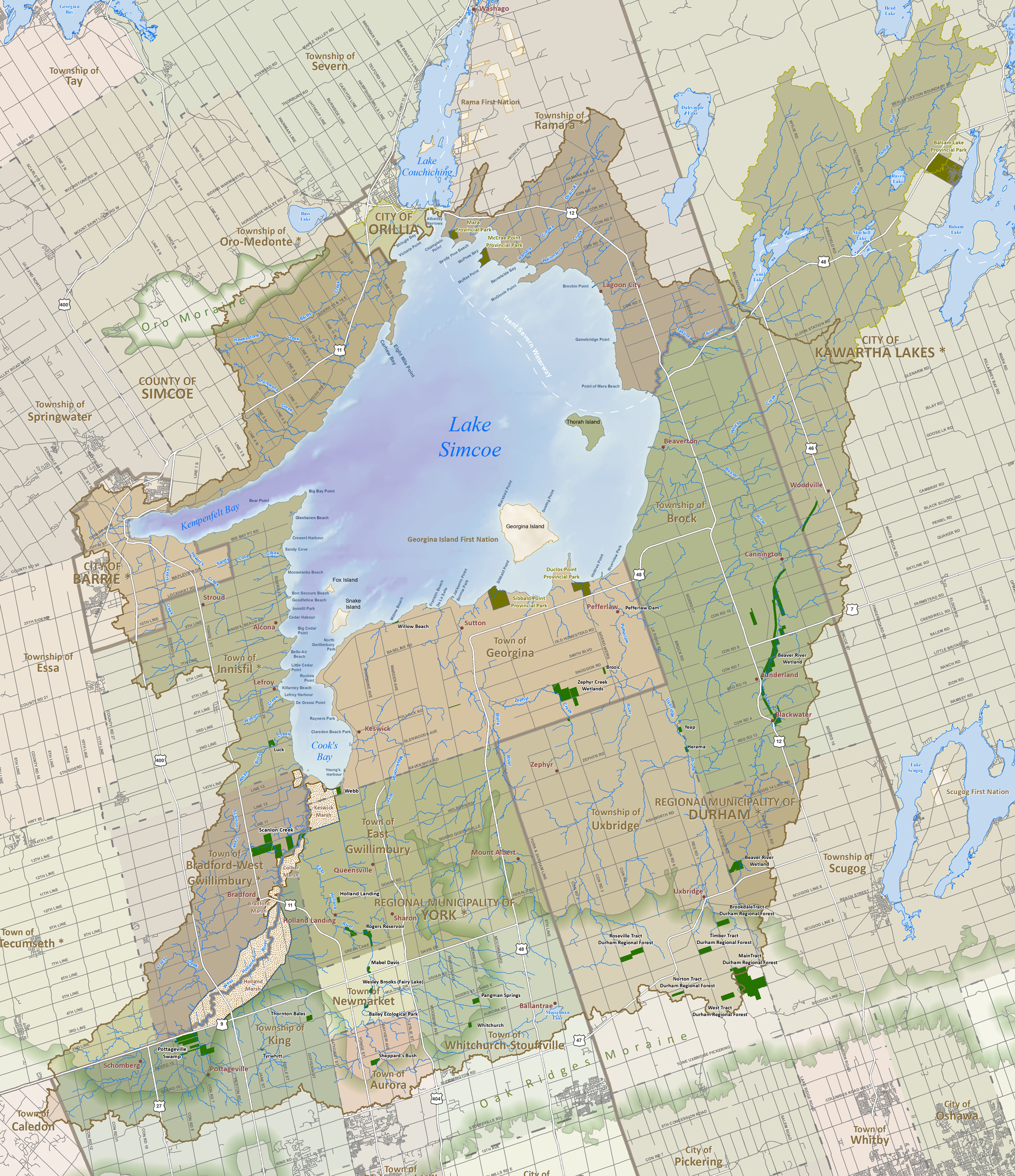 Lake Simcoe Watershed Map